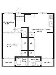 ビレッジハウス見瀬1号棟[2階]の間取り