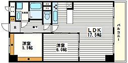 天満橋グリーンコーポラス[6階]の間取り
