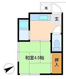 神奈川県横浜市緑区東本郷1丁目の賃貸アパートの間取り