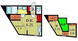 ウェルプレイス駒込 2階1DKの間取り