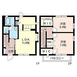 [テラスハウス] 千葉県富里市日吉台5丁目 の賃貸【/】の間取り