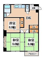 第二塚本コーポラス[3階]の間取り
