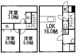 [テラスハウス] 北海道札幌市西区八軒十条西12丁目 の賃貸【北海道 / 札幌市西区】の間取り