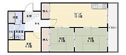 大阪府八尾市南久宝寺1丁目の賃貸マンションの間取り