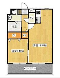 JR宇野線 備前西市駅 徒歩5分の賃貸マンション 3階1LDKの間取り