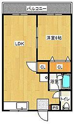 エルモア青川 1階1LDKの間取り