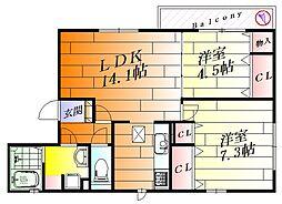 Pastoral Court Senri[2階]の間取り