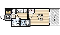 阪神本線 野田駅 徒歩4分の賃貸マンション 2階1Kの間取り