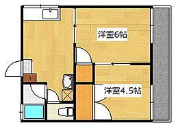 新富ハイツ A棟[2階]の間取り