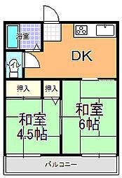 勝田サンコーポ B棟[201号室]の間取り