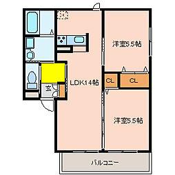 ハイムオランジュ[2階]の間取り