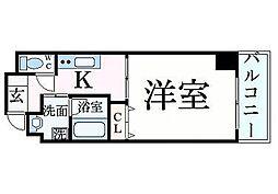 JR東海道・山陽本線 姫路駅 徒歩9分の賃貸マンション 3階1Kの間取り