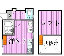 東京都足立区千住大川町の賃貸アパートの間取り