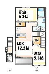 JR加古川線 社町駅 バス11分 社高校前下車 徒歩2分の賃貸アパート 2階2LDKの間取り