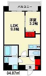 西鉄天神大牟田線 雑餉隈駅 徒歩5分の賃貸マンション 1階1LDKの間取り