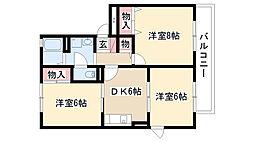愛知県尾張旭市桜ケ丘町2の賃貸アパートの間取り