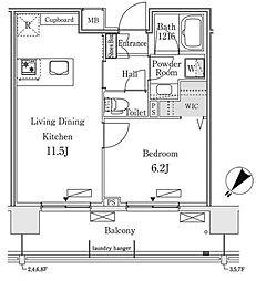新交通ゆりかもめ 新豊洲駅 徒歩22分の賃貸マンション 2階1LDKの間取り