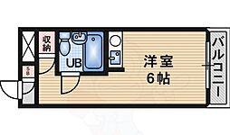 阪急千里線 南千里駅 徒歩15分の賃貸マンション 3階ワンルームの間取り