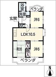ロイヤルハイツ三本木[4階]の間取り