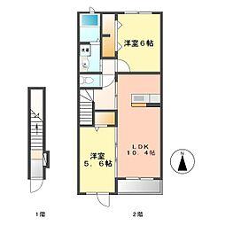 愛知県北名古屋市鍜治ケ一色西二丁目の賃貸アパートの間取り
