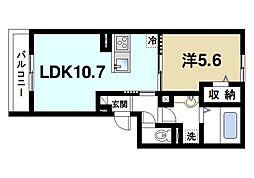 JR片町線(学研都市線) 木津駅 徒歩9分の賃貸アパート 3階1LDKの間取り