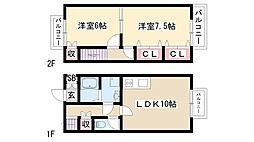 愛知県名古屋市瑞穂区陽明町1丁目の賃貸アパートの間取り