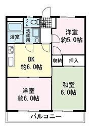 高砂ハイツA[2階]の間取り