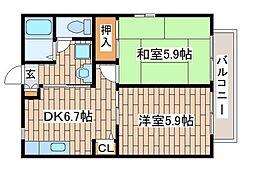 JR東海道・山陽本線 六甲道駅 徒歩9分の賃貸アパート 1階2DKの間取り