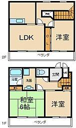 大阪府交野市星田8丁目の賃貸アパートの間取り