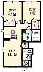 岡山県倉敷市北畝7丁目の賃貸アパートの間取り