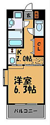 福岡県福岡市中央区渡辺通5丁目の賃貸マンションの間取り