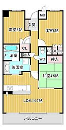 大阪府八尾市東本町3丁目の賃貸マンションの間取り