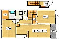 アンソレイエTI・II[2階]の間取り