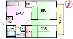 トリスミ青南台 2階2DKの間取り