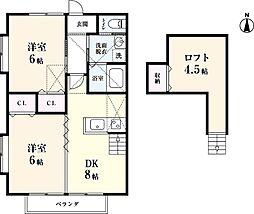 リゾート三日月 D棟[206号室]の間取り
