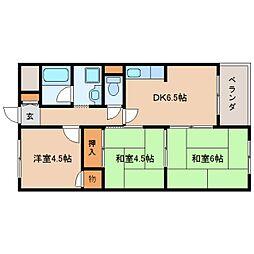 奈良県生駒郡斑鳩町興留5丁目の賃貸マンションの間取り