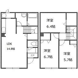 北海道札幌市白石区北郷五条9丁目の賃貸アパートの間取り