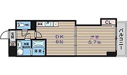 フクダ不動産上本町マンション 1階1DKの間取り