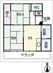 ビレッジハウス井村I号棟[1階]の間取り