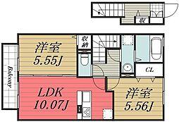 千葉県四街道市四街道の賃貸アパートの間取り