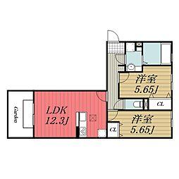 D-roomちはら台 H 2階2LDKの間取り