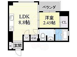 北大阪急行電鉄 桃山台駅 徒歩8分の賃貸マンション 3階1LDKの間取り