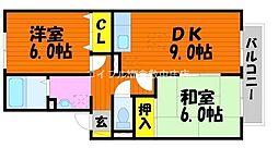 岡山県岡山市北区花尻ききょう町の賃貸アパートの間取り