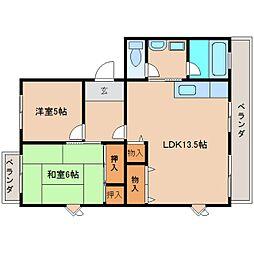 奈良県奈良市鶴舞西町の賃貸マンションの間取り