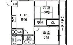 大阪府吹田市東御旅町の賃貸マンションの間取り
