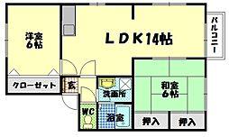 広島県廿日市市物見東2丁目の賃貸アパートの間取り