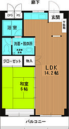 和田河原駅ハイツ2階Fの間取り画像