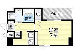 Osaka Metro今里筋線 蒲生四丁目駅 徒歩4分の賃貸マンション 8階1Kの間取り