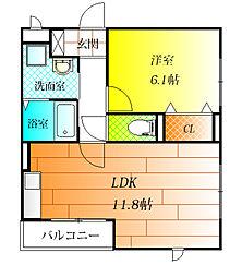 大阪府羽曳野市壺井の賃貸アパートの間取り