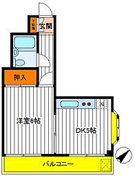 東京都立川市富士見町4丁目の賃貸マンションの間取り